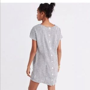 Madewell stripe- play button dress with pockets